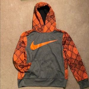 Boys Nike Gray & Orange Dri fit Hoodie size M